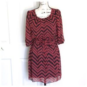 ❤️Lovely Chevron Pattern Dress, Cool Sleeves, Belt